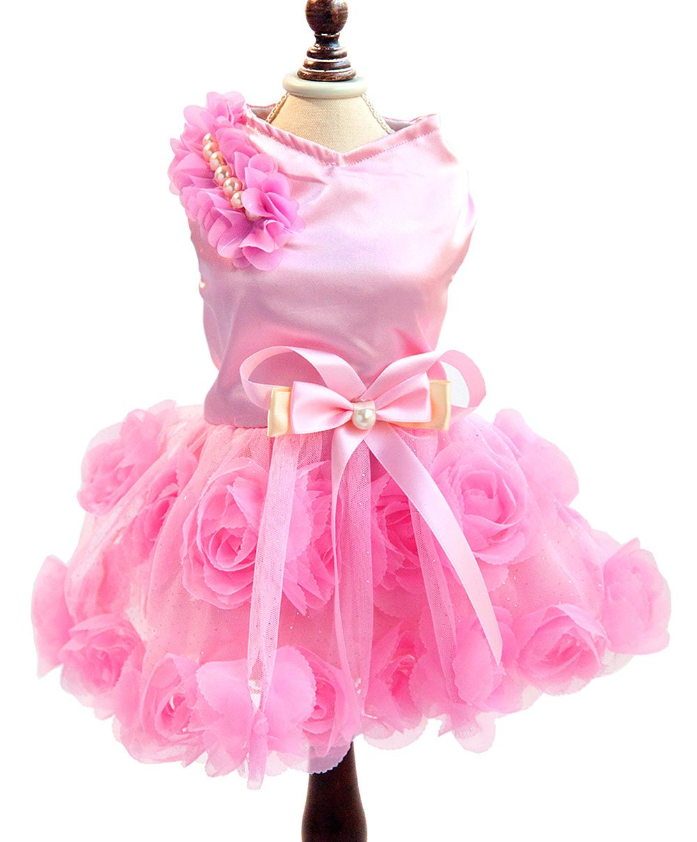 SMALLLEE_LUCKY_STORE Pet Small Dog Puppy Cat Clothes Coat Wedding Costume Satin Rose Formal Dress Tutu Pink L