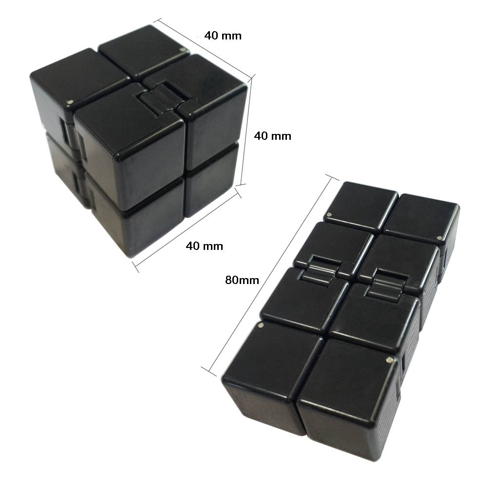 Cool Hand Games for Stress and Anxiety Relief and Kill Time Black Ultra Durable KEJIH Infinity Cube Fidget Finger Toy for Kids and Adults