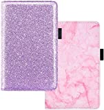 "YOMFUN Server Book for Waitress Book Organizer 2 Pack, Purple Server Book Marble Waitress Wallet Bling Waitstaff Book Server Check Book 5X7.7""(Glitter Purple,Marble Pink)"