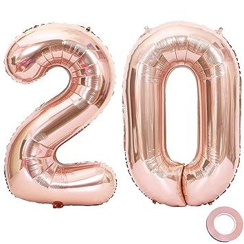 Juland Oro Rosa Número 20 Globos Globos Grandes de Mylar de la Hoja 40 Pulgadas Número Gigante de Globos Gigantes para Decoraciones de Fiesta de ...