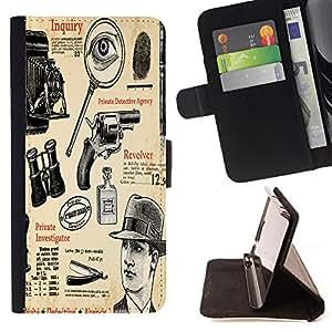 King Case - FOR LG OPTIMUS L90 - Classical instruments - Prima caja de la PU billetera de cuero con ranuras para tarjetas, efectivo Compartimiento desmontable y correa para la mu?eca