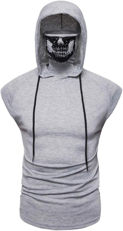 Large, Light Grey Flygo Mens Skull Hoodie Vest Pullover Sleeveless Sweatshirt Tops