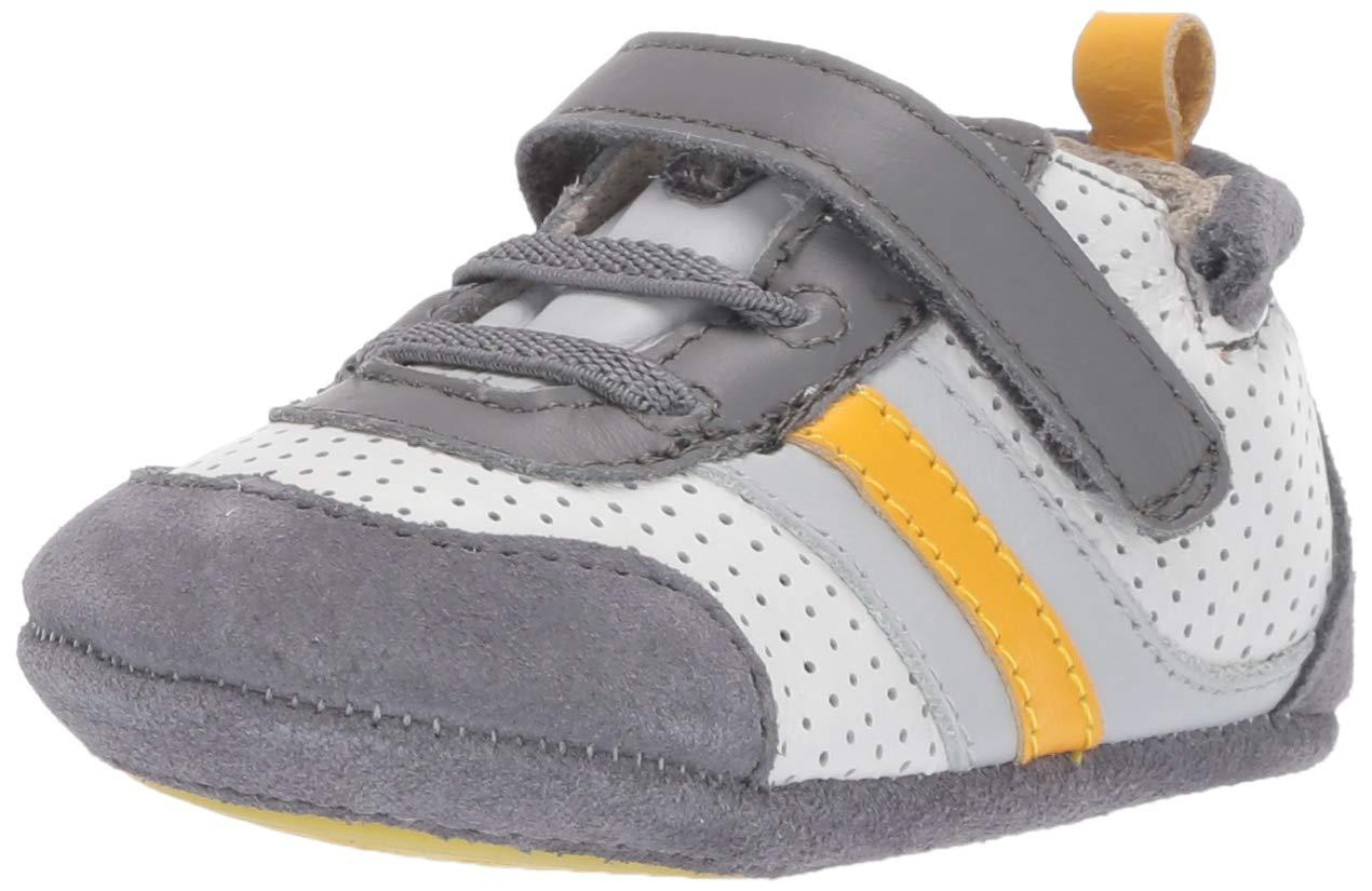 Robeez Boys' Low Top Sneaker-Mini Shoez Crib Shoe, Grey/Yellow, 12-18 Months by Robeez