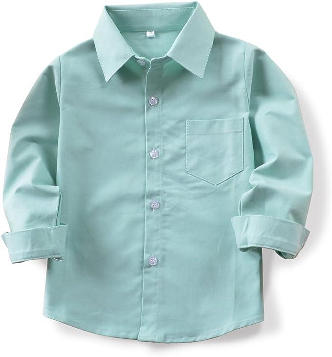 OCHENTA Camisa Oxford de Manga Larga con Botones para Chicos N004 Verde Claro 8-9 a?os: Amazon.es: Ropa y accesorios