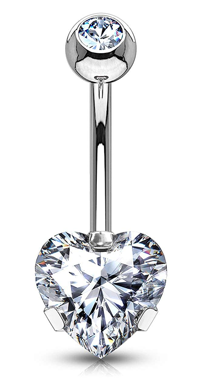 Forbidden Body Jewelry 14g Tri-Prong Heart Shaped CZ Solitaire Belly Button Ring