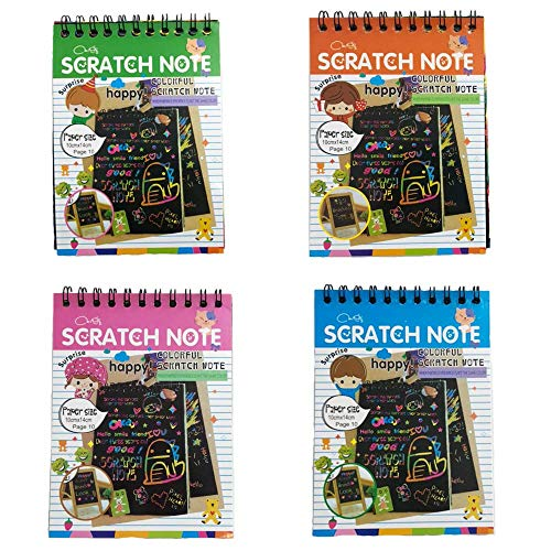(4 Pack Scratch Note Pads,Sketch Art Note Pads, Magic Scratch Art Painting Scratch with Wooden Stylus)