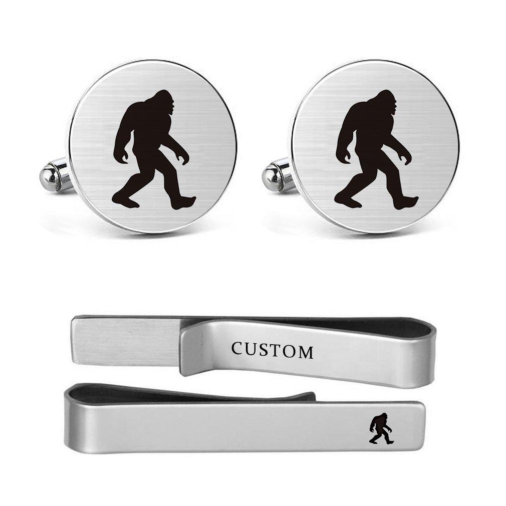 MUEEU Ape cufflinks Engraved Man Bigfoot Wildman Stainless steel Wedding Birthday Dad Groom Tie Bar Tack Clips (Round cufflinks & tie clips)