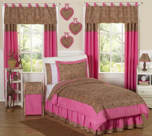 Sweet Jojo Designs 3-Piece Cheetah Girl Pink and Brown Teen Bedding Full/Queen -