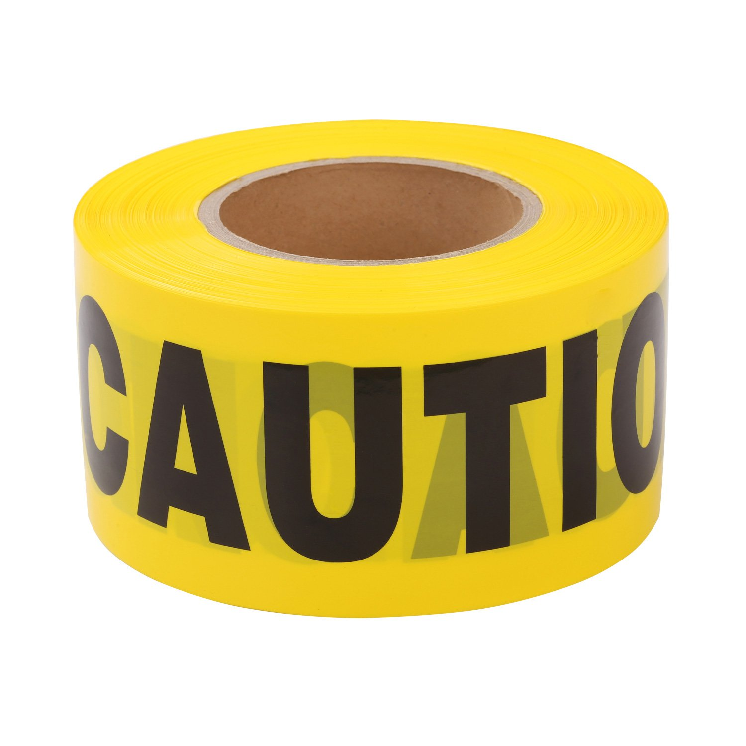 TopSoon Yellow CAUTION Tape Barrier Tape Caution Safety Tape Bright Yellow 3 x 1000 Roll Non-Adhesive