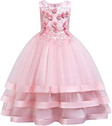 2017 Sleeveless Flower Girl Dress Toddler Party Ball Gown Baby Clothing 6M-5T
