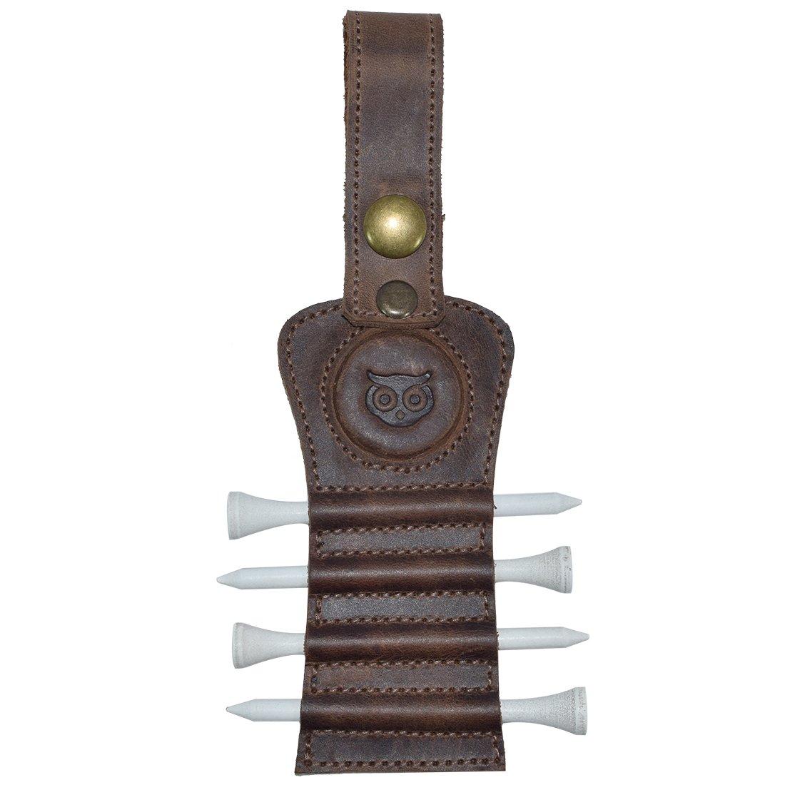 Hide & Drink Golf Tee Holder Leather Gift Hook to Golf Bag Belt Clip :: Bourbon Brown