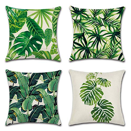- Gysan Tropical Leaves Series Throw Pillow Cover Decorative Cotton Linen Burlap Square Outdoor Cushion Cover Pillow Case for Car Sofa Bed Couch Pack of 4 (Tropical Leaves B, 18