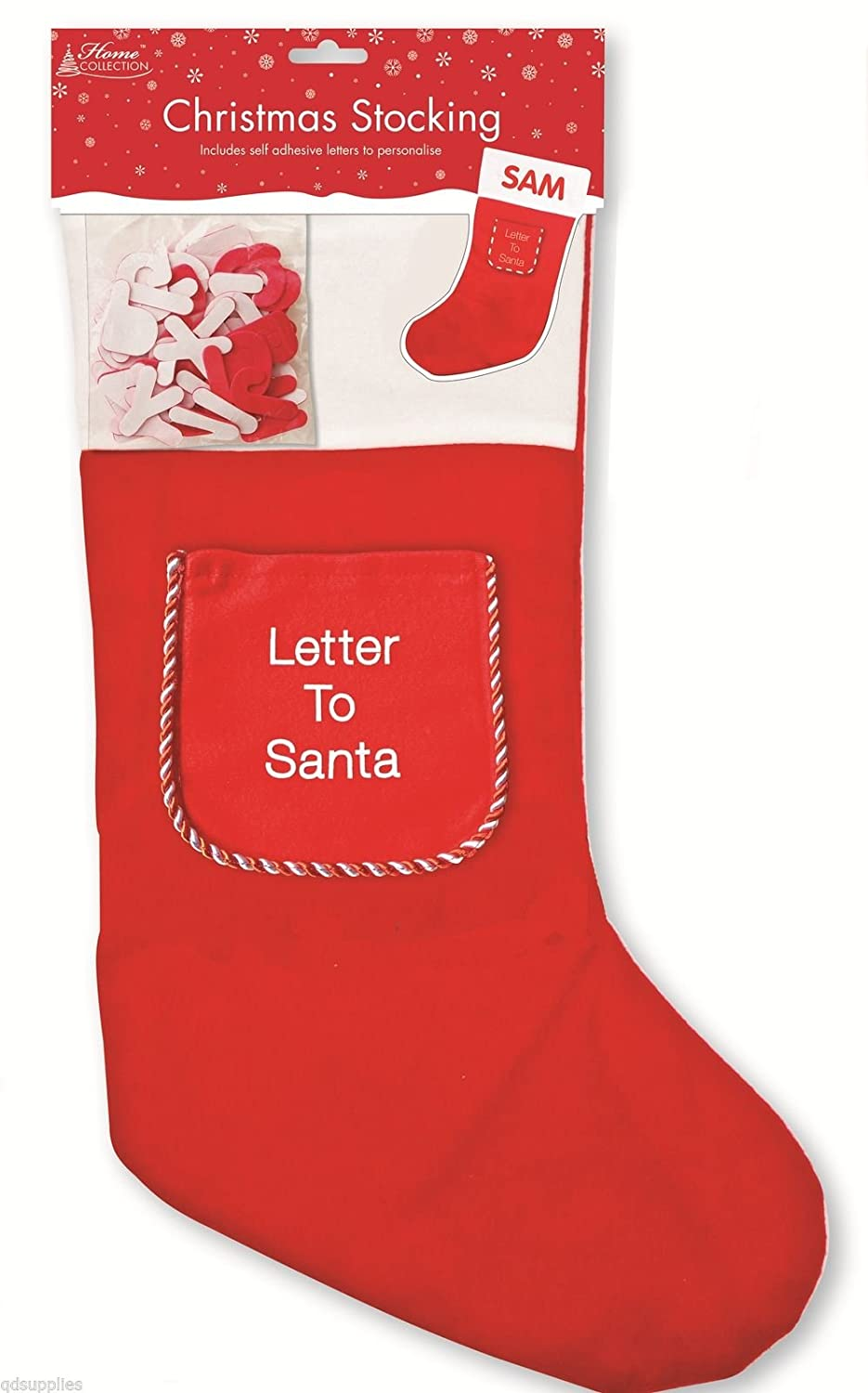 Letter Christmas Stockings.2 X Red Christmas Stockings Personalised Name With Letter To Santa Pocket