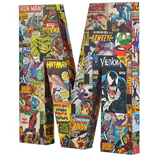 Marvel  ME01M4 10 x 1 Red/Blue/Yellow Comics Wood Letter 'M' (Xmen Wood)