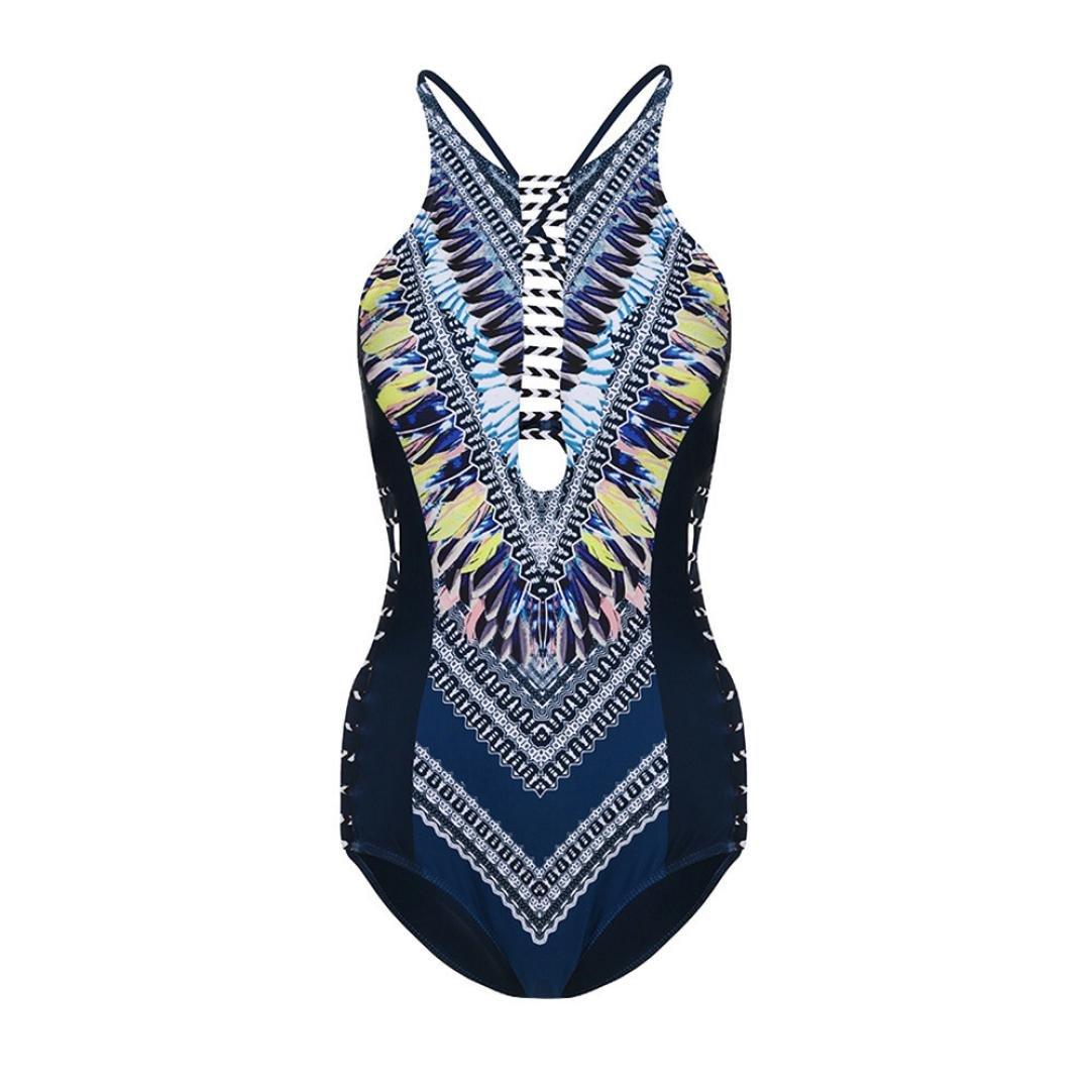 Fheaven Women's One Piece Swimsuit Geometric Printing Bikini Hollow out Side Swimwear Beachwear Bathing (S, Blue)