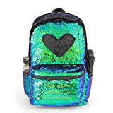 Magic Reversible Sequin School Backpack, Girls and Boys Glitter Lightweight Back Pack for Junior Senior Students, 17''(H)12¼''(L)4¾''(W)(Mermaid)