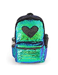 """Glitter Magic Reversible Sequin School Backpack,Sparkly Lightweight Back Pack Shoulder Casual Daypack for Women Girls and Boys (Mermaid/Black, 17""""(H)12¼""""(L)4¾""""(W)"""