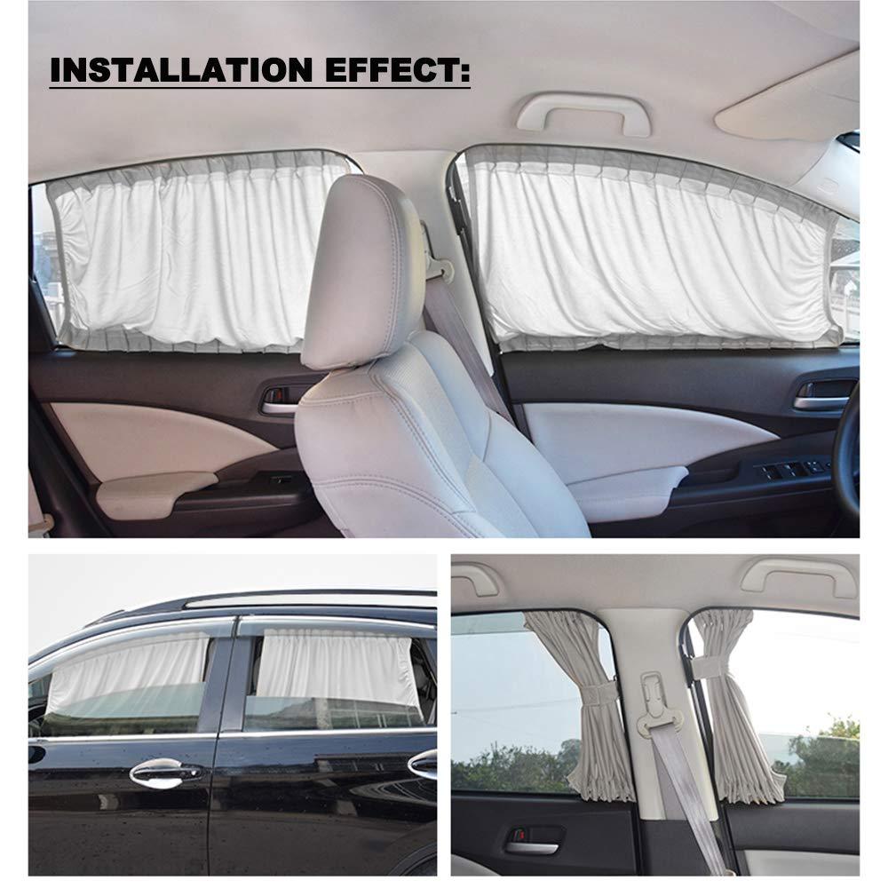 Car Interior Sun Shade Window Curtain Fochutech Car Window Curtain Black, 50S Adjustable Auto Sunshade Drape Visor Valance Curtain Universal Car Curtains