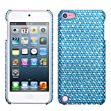 Hard Protector Back Cover Case Apple iPod Touch 5 (5th Generation), Blue/ White Dots With Full Rhinestones