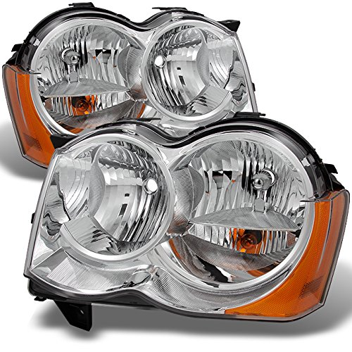 For Jeep Grand Cherokee Halogen Type Headlights Head Lamps Driver Left + Passenger Right Replacement Set