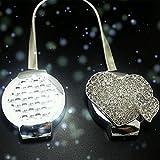 Shinywear Chic Crystal Silver Magnetic Curtain Tiebacks Clips Adjustable Spring Love Heart Decorative Holdbacks Pack of 2