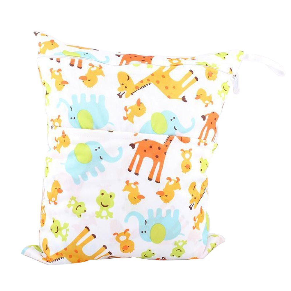 niceEshop(TM) Bolsa de Pañales de Mojado y Seco Impermeable para Carro de Bebé (Jirafa)