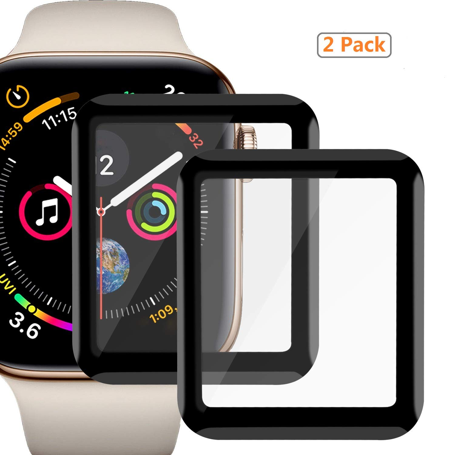 Apple Watch Screen Protector 38mm, Watch Advanced Screen Protector, [2 Pack] Anti-Scratch/Full Cover Tempered Film Compatible 38mm Series 1/2/3 Black by Meshion