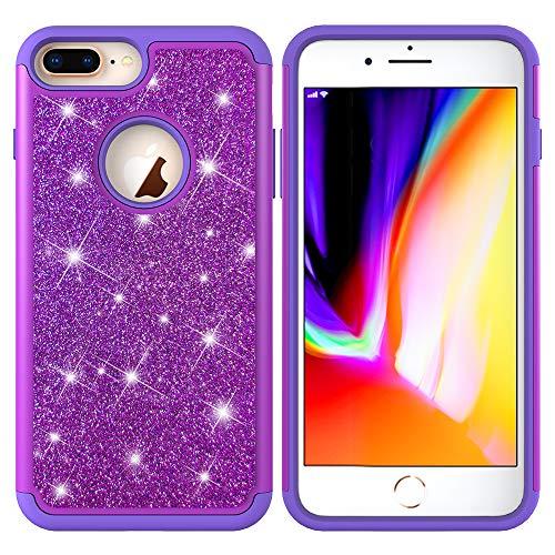 Yobby Hybride Protecteur Coque pour iPhone 7,Coque iPhone 8 Bling Glitter Strass Slim Housse Etui Double Couche Antichoc Dur PC Retour + Doux TPU Bumper Interne Cover-Noir Violet