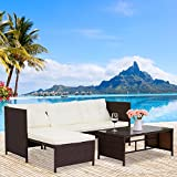 Kinbor 3-Piece Outdoor Rattan Wicker Sofa and Chaise Lounge Set Mix Brown