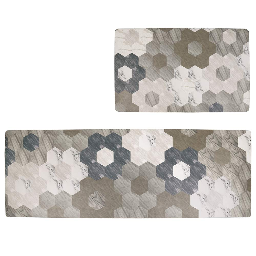 Anti Fatigue Kitchen Floor Comfort Mat, Heavy Duty Standing Mats Waterproof Oil Proof Kitchen Rug Set Ergonomic PVC 2-PACK Kitchen Runner and Rug (Wood Pattern3, 18''x30''+20''x48'') by HiiARug