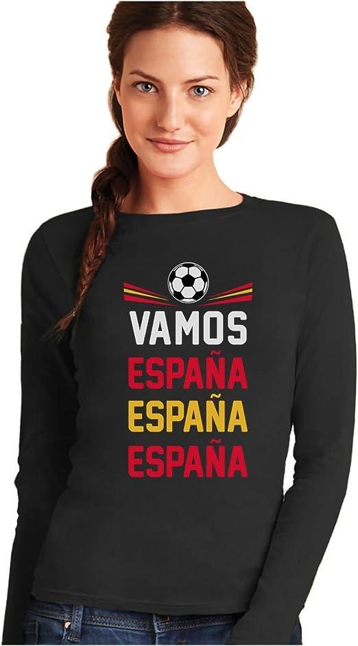 Camiseta de Manga Larga para Mujer - Vamos España - Apoyemos a la Selección Española!: Amazon.es: Ropa y accesorios