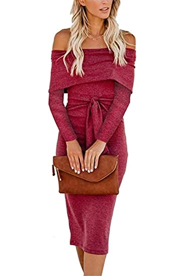 8c7f40e5cb5 ALAIX Women s Sexy Off Shoulder Long Sleeve Bodycon Midi Knit Cocktail  Evening Sweater Dress with Belt Burgundy-L at Amazon Women s Clothing store