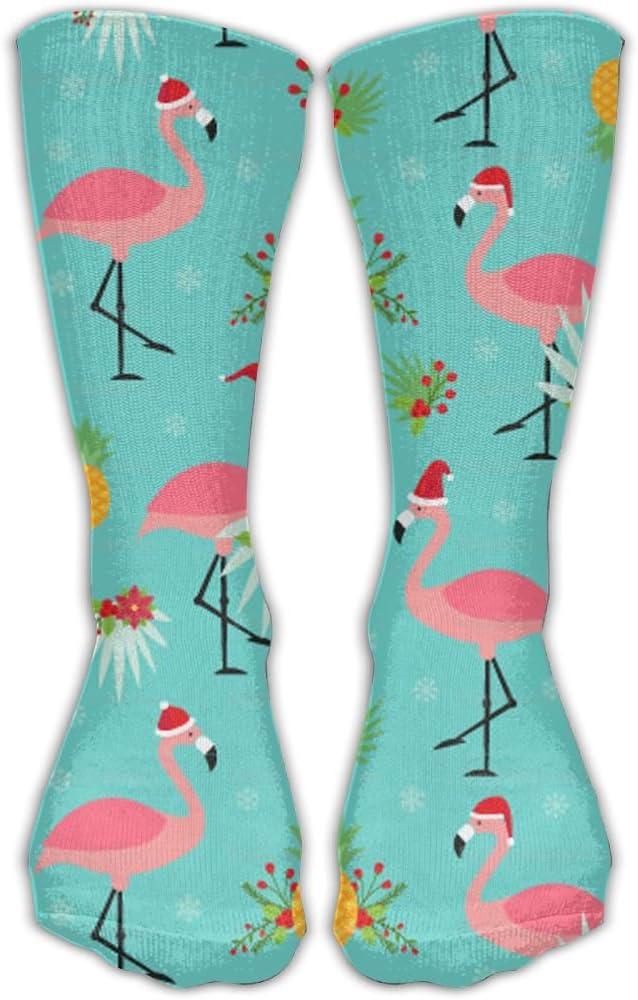 Flamingos Wearing Santa Hats Funny Sports Performance Work Crew Socks