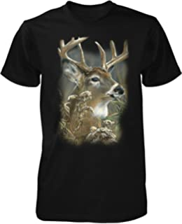 Men/'s American Deer Forest Long Sleeve Black T Shirt Hunting Wildlife USA Flag