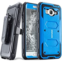 COVRWARE® Samsung Galaxy Grand Prime / Go Prime Case - [Aegis Series] Heavy Duty Dual Layer Hybrid Full-Body Armor Belt-Clip Holster Case [Kickstand] w/ Front Cover Built-in Screen Protector - Blue