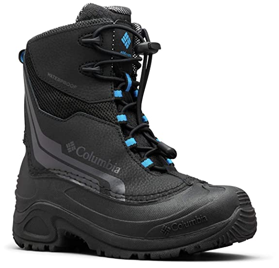 Columbia Boys' Youth Bugaboot Plus IV Omni-Heat Snow Boot, Black, Hyper Blue, 5 Regular US Big Kid best kids' snowboots