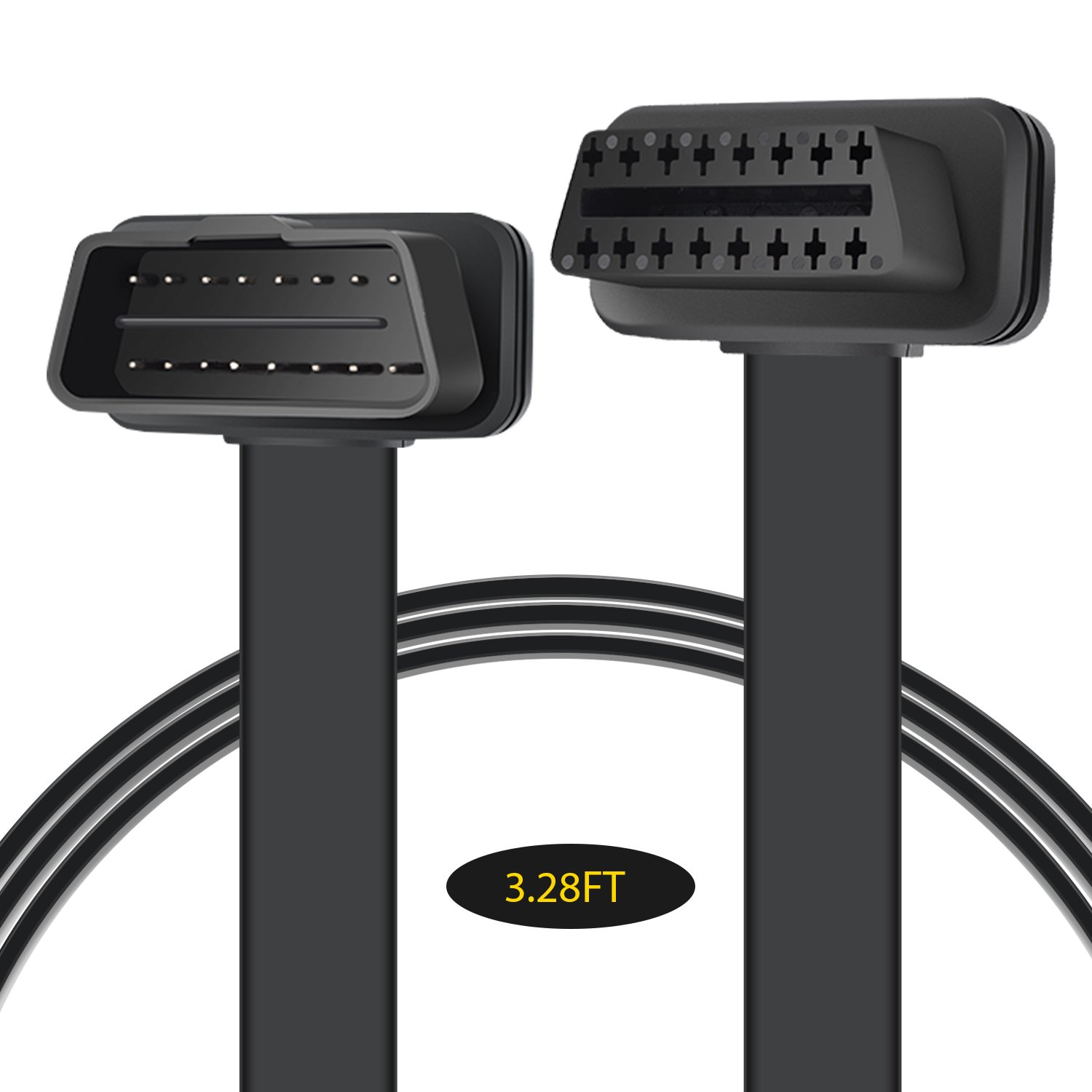 AIOBD OBD2 Scanner Extension Convert Cable, Black Male to Female Flat Extension Cable 16-pin Pass-Through All OBD Vehicles