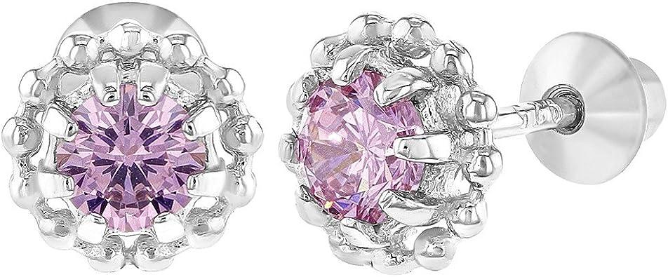 Rose Chaud Cristal In Season Jewelry Fleur Boucles d/'oreilles Tiges poussettes s/écurit/é /à vis B/éb/é Enfants Plaqu/é Rhodium