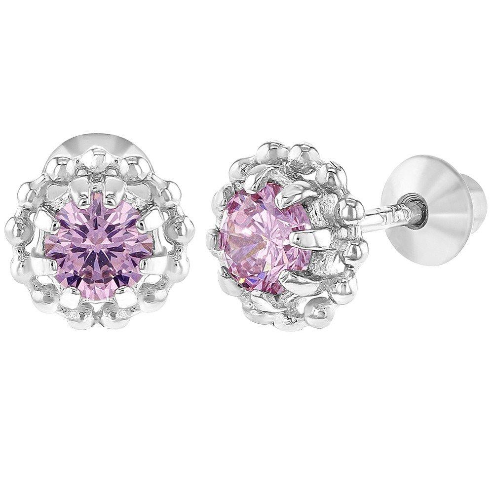 925 Sterling Silver Pink CZ Flower Screw Back Earrings for Baby Girls 6mm In Season Jewelry SS-03-00226