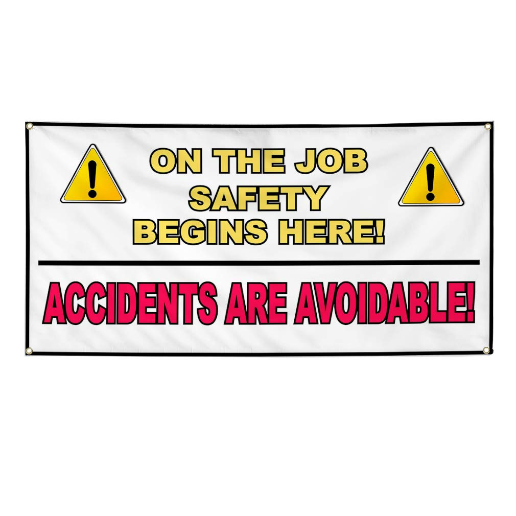 Multiple Sizes Available 4 Grommets Vinyl Banner Sign Safety Starts with You Profession Outdoor Marketing Advertising Yellow 28inx70in Set of 2