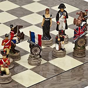 Hand Painted Napoleon & The Duke of Wellington Chessmen