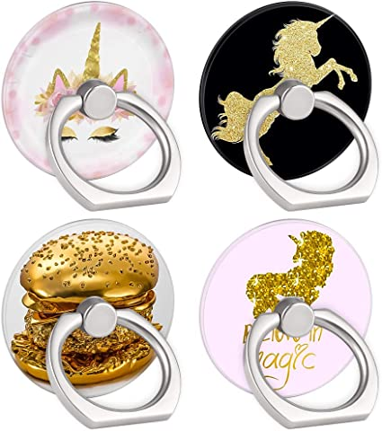 Unicorn 4-Pack Phone Ring Holder 360 Rotation Finger Stand Grip Kickstand for Smartphones and Tablets