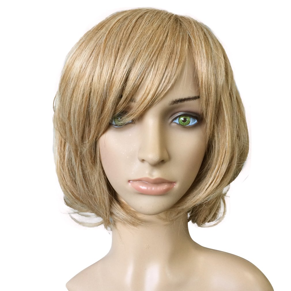 Namecute Echthaar Perücke Ombre Blond Kurz Bob Locken Peruecken Damen min Pony Mos P8T-145-27-613