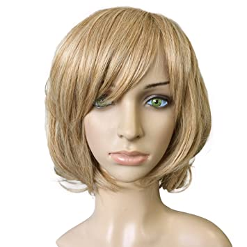 Namecute Echthaar Perücke Ombre Blond Kurz Bob Locken Peruecken Damen Min Pony