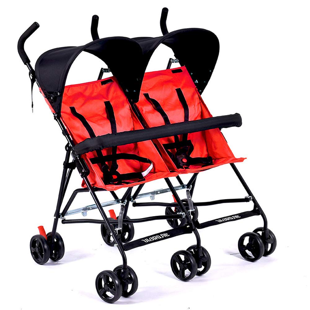 ZL Twin and Twin Strollers - Birthed Two-Seater Double Stroller - Lightweight and Convertible Stroller Plus Armrests,D