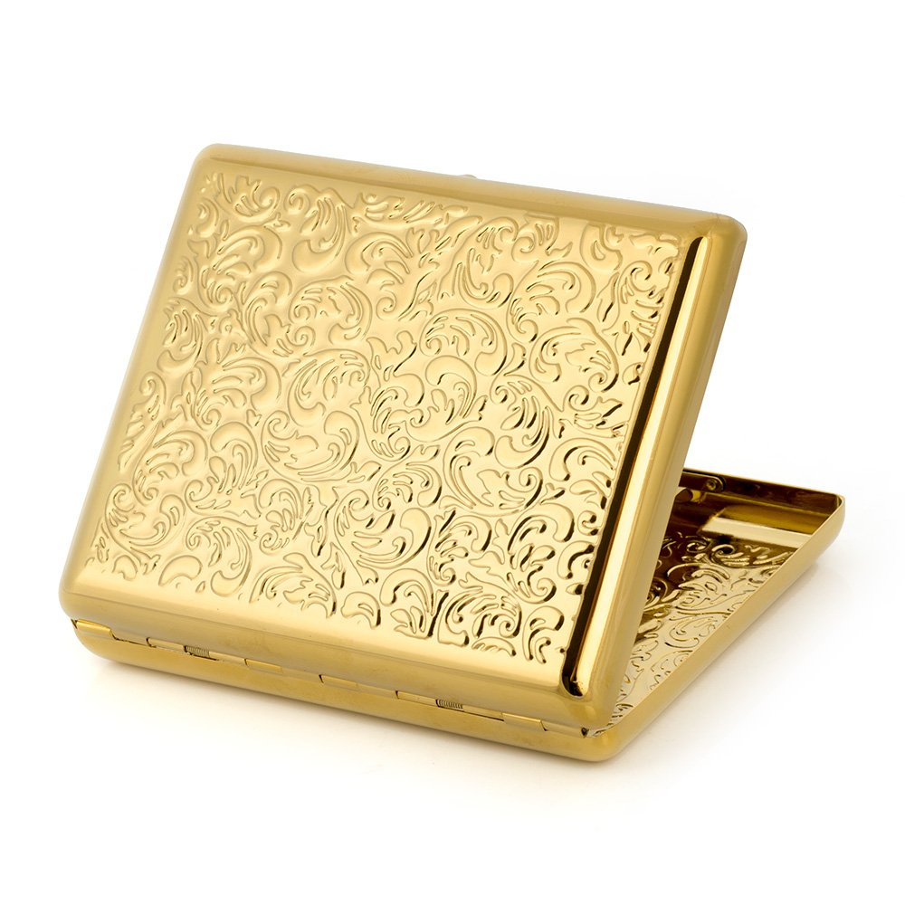 Pure Copper Embossed Arabesque Metal Cigarette Case Cardcase for 100's Cigarettes (Gold)