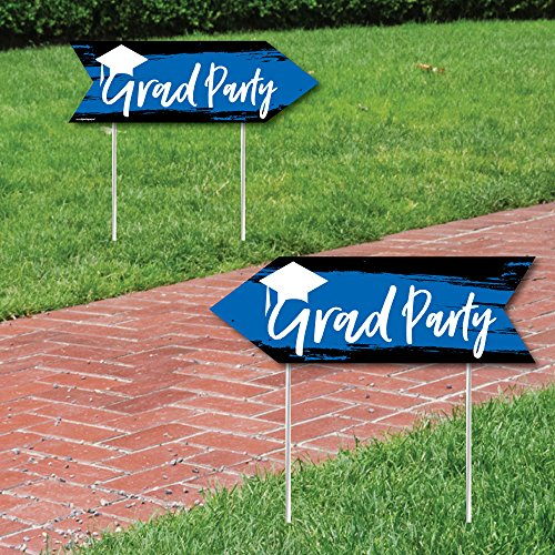 Blue Grad - Best is Yet to Come - Royal Blue Graduation Party Sign Arrow - Double Sided Directional Yard Signs - Set of 2]()