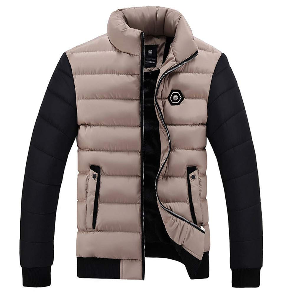 Big and Tall Mens Winter Coats Clearance.Mens Winter Color Collision Cotton Jacket Thickening Warm Cotton Padded Coat