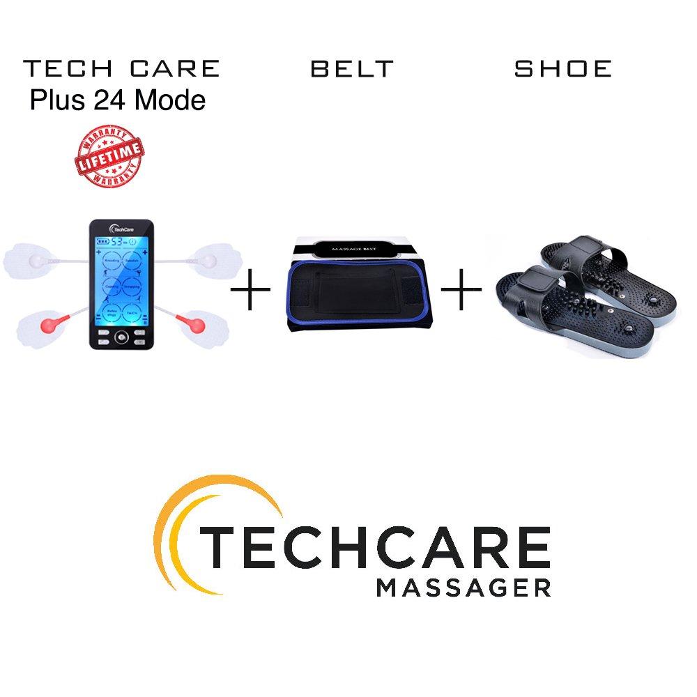 Lifetime Warranty TechCare Plus 24 Modes Tens Unit Massager FDA Cleared Rechargeable Unit Electric Complete Set + Fat Burner Belt + Reflexology Shoes Back Neck Pain Sciatica