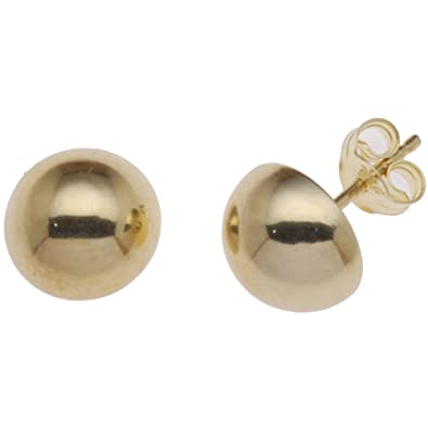 284d6ff6e Adara 9 ct Yellow Gold Dome Stud Earrings of 8 mm: Amazon.co.uk: Jewellery